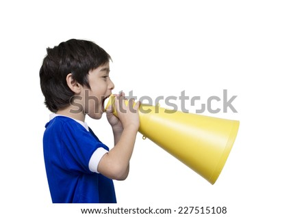 little boy shouting with the megaphone  - stock photo