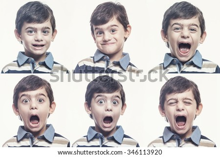 Little boy showing different facial expressions. Digital composite cross processed image