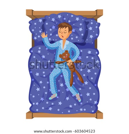 little boy sleeping her bed teddy stock illustration 603604523