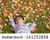 Little Boy Sleeping on a Bed of Colorful Autumn Leaves - stock
