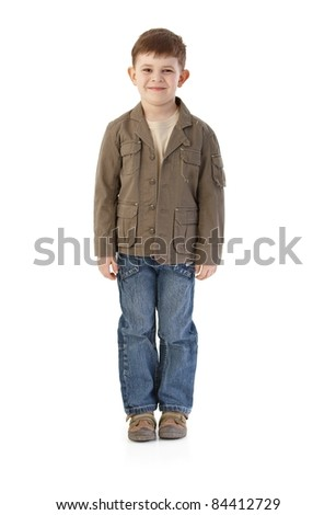 Little boy smiling, wearing autumn clothes.? - stock photo