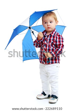 Little boy standing colored umbrella.Early years learning a happy childhood concept.Isolated on white background. - stock photo