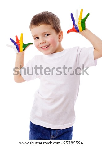 Little boy standing with painted hands, isolated on white