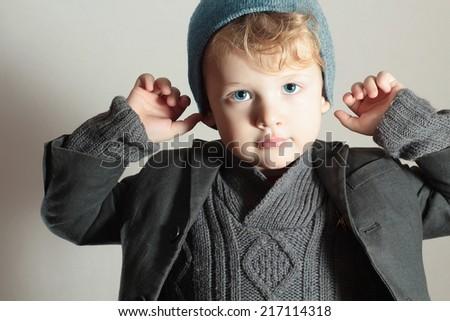 Little Boy.Stylish Handsome Child. Fashion Kids.Winter Style  - stock photo