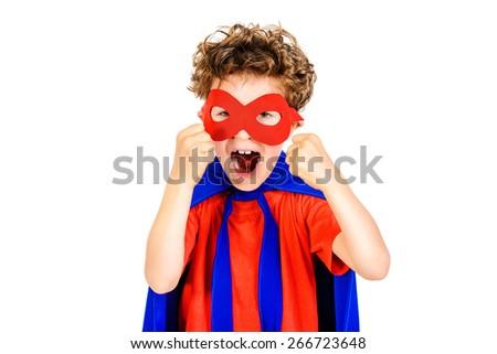 Little boy superhero. Isolated over white background. - stock photo