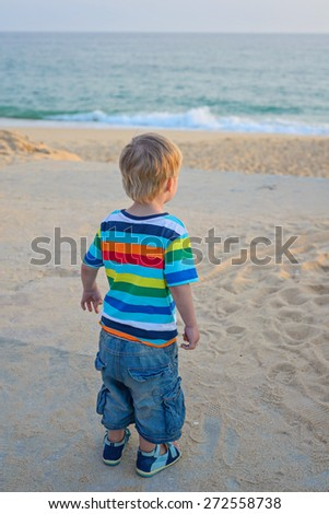 Little boy turned away on the sandy beach on sunset - stock photo