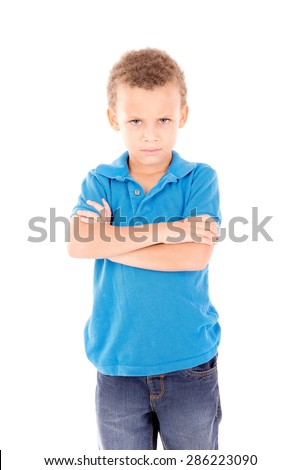 little boy upset isolated in white