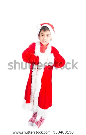 Little boy wearing santa claus christmas red cloth