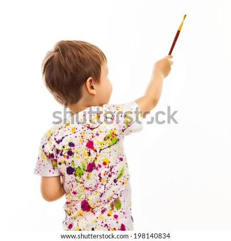 Little boy with a paintbrush, rear view, isolated on white background - stock photo
