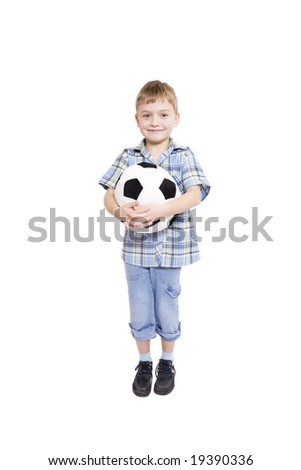 Little boy with a soccer ball (isolated on white)