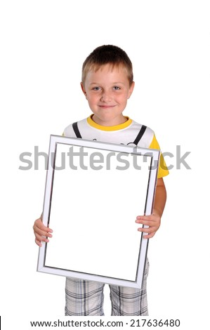 little boy with a white frame - stock photo