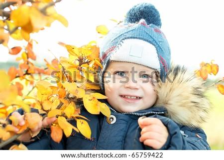 Little boy with autumn orange leaves - stock photo