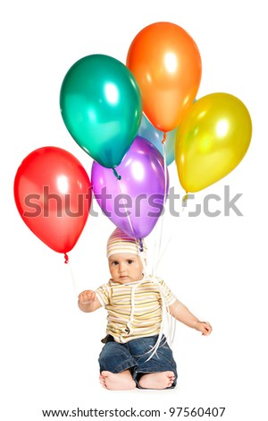 little boy with balloons