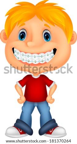 Little boy with brackets - stock photo