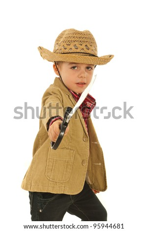 Little boy with cowboy hat playing with sword toy isolated on white background