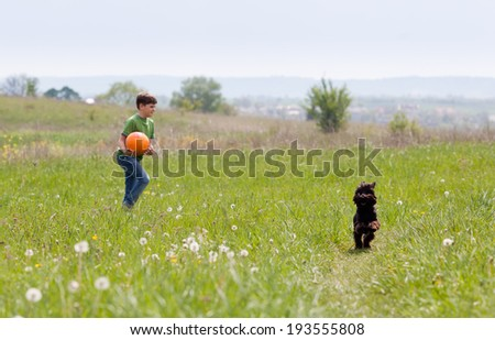 Little boy with football and his dog playing in the meadow - stock photo