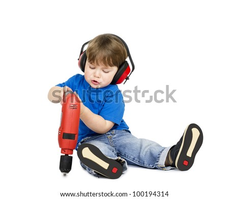 Little boy with hand tools - isolated on white background. - stock photo
