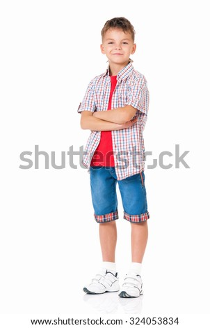 Little boy with hands folded isolated on white background - stock photo