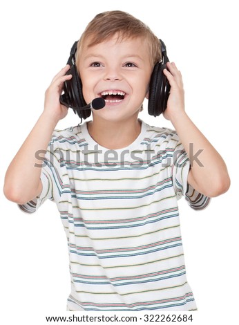 Little boy with headphones - isolated on white background - stock photo