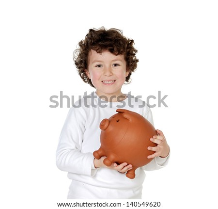 Little boy with his a big piggybank isolated on a white background - stock photo