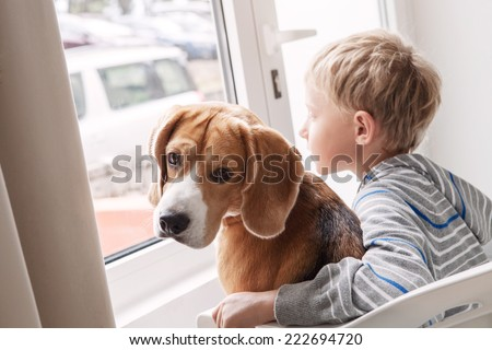 Little boy with his doggy friend waiting together near the window - stock photo