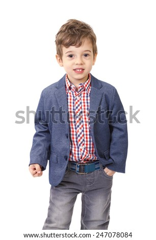 Little boy with jacket and shirt on white background