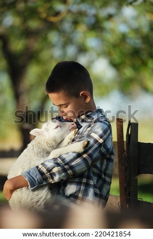 little boy with lamb on the farm - stock photo