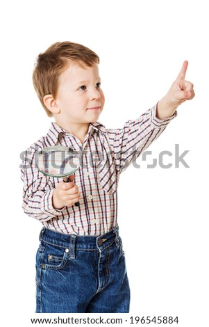 Little boy with magnifying glass and pointing sign, isolated on white - stock photo