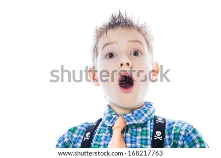 Little boy with open mouth. isolated on white background