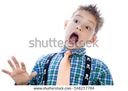 Little boy with open mouth. isolated on white background - stock photo