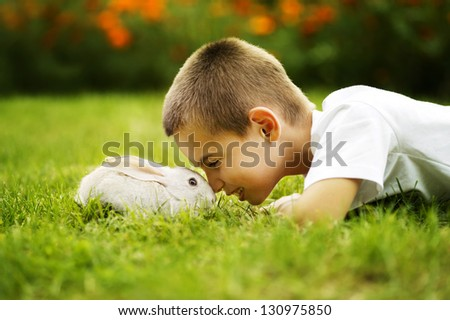 little boy with rabbit - stock photo