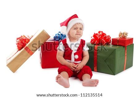 little boy with santa costume - stock photo