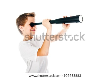little boy with telescope isolated on a white background