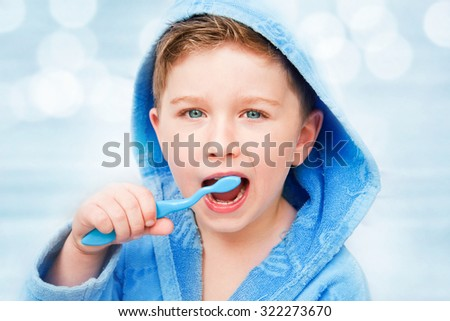 Little Boy With Toothbrush - stock photo