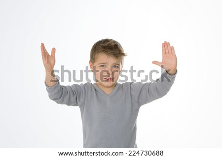 little boy worried about a very big problem - stock photo