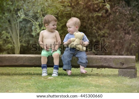 Little boys having fun together - stock photo