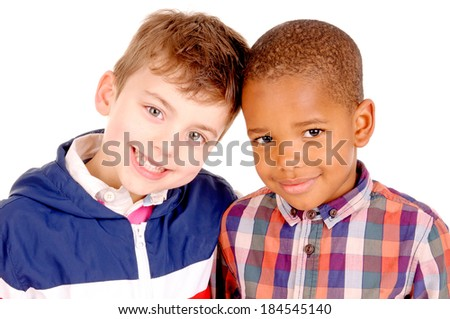 little boys isolated in white