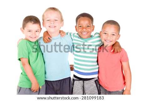 little boys isolated in white background