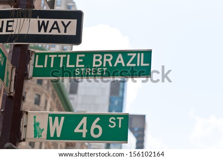 Little Brazil and West 46st  street signs in New York City - stock photo