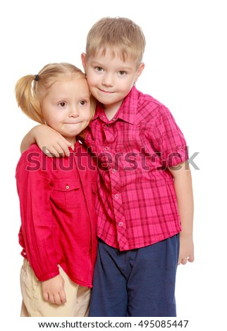 Little brother and sister cute hug.Isolated on white background