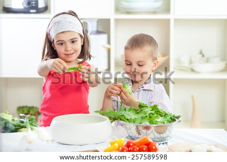 Little brother and sister preparing salad in the kitchen - stock photo
