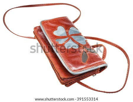 little brown clutch bag decorated floral pattern isolated on white background - stock photo