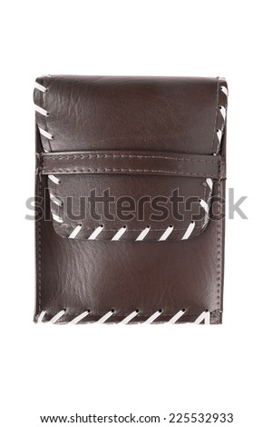 Little brown leather case isolated over white