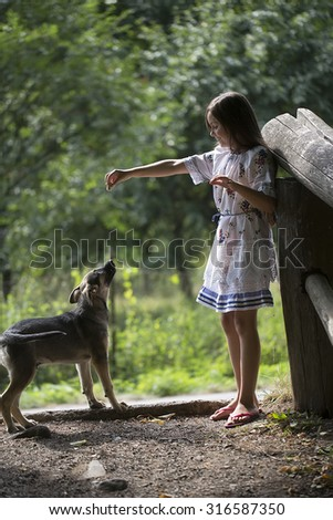 Little brunette girl in white red blue traditional ukrainian embroidery dress standing and feeding cute young dog without breed outdoor sunny day on natural background, vertical picture - stock photo