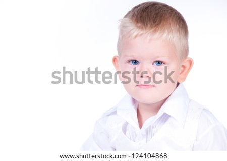 Little business boy in  solid white suit - stock photo