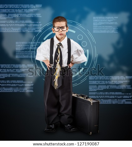 Little business boy on digital background