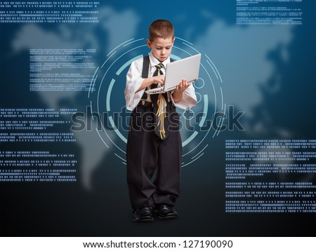 Little business boy working with laptop and virtual buttons on digital background - stock photo