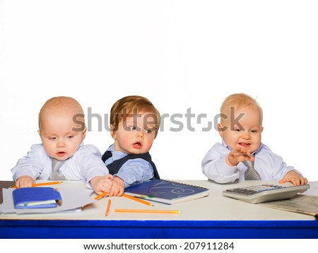 Little businessman portrait in office. isolated on white - stock photo