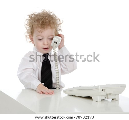 Little businessman talking on the phone.  isolated on white background - stock photo