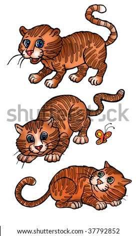 little cartoon separate tigers play with butterfly, stand, hunt - stock photo